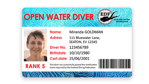 Diving certification card with barcode printed with Badgy