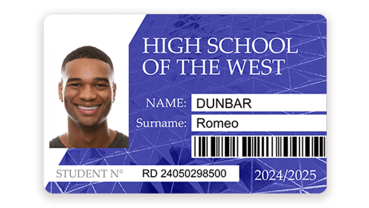 Student card with barcode printed with Badgy